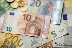 Euro Money. euro cash background. Euro Banknotes. Different Euro banknotes from 5 to 500 Euro Stock Photography