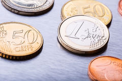 Euro money. Euro currency. Euro coins stacked on each other in different positions.  Royalty Free Stock Photography