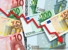 Euro money fall concept. Arrow chart pointing down against background made of Euro bills Royalty Free Stock Image