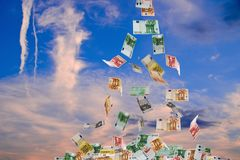 Euro Money Fallig down Stock Images