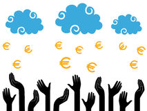 Euro Money falling from the clouds in the human hands Royalty Free Stock Photography