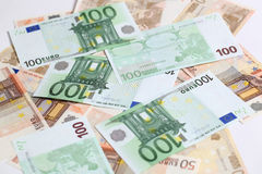 Euro money. Fifty and one hundred euro bills Royalty Free Stock Image