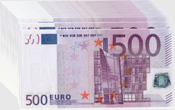 Euro money. Five hundred euro background.Convert a lot of money. A stack of banknotes Stock Photography