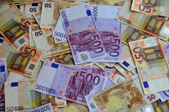 Euro Money of Five Hundreds and Fifty. Banknotes of five hundreds euros and fifties euros Royalty Free Stock Photos