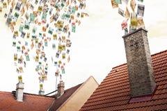 Euro money flies up the chimneys Stock Photography