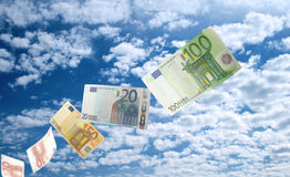 Euro money flying Stock Photos
