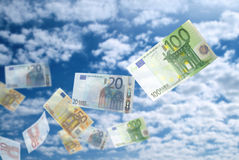 Euro money flying Stock Photography
