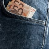 Euro money in the front pocket Stock Photography