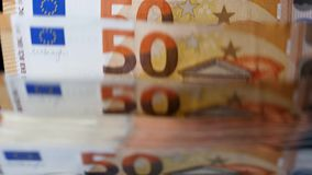 Euro money are getting counted automatically. 4K stock video footage