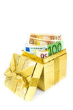 Euro money in golden gift box Stock Image
