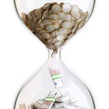 Euro Money In Hourglass (Conceptual Picture) Royalty Free Stock Image