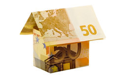 Euro money house. Made of two 50 euro banknotes Royalty Free Stock Photo