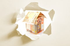 Euro money house and paper hole. Euro money house and hole in blank paper Royalty Free Stock Photography