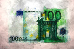 100 euro money impressionism. Painting, finance art, money drawing, oil painting style Royalty Free Stock Photos