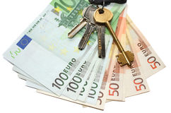 Euro money and keys Stock Photos
