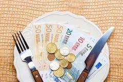 Euro money on kitchen table, coast of living Stock Photography