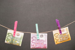 Euro money on the line Royalty Free Stock Image