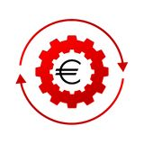 Euro money logo. Gear functions Royalty Free Stock Images