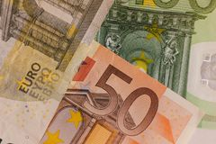Euro money macro. Top wiew. Wallpaper. stock photo