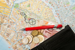 Euro money Map and red pen Royalty Free Stock Image