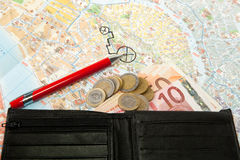 Euro money Map and red pen Stock Image