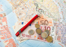Euro money Map and red pen Stock Photos