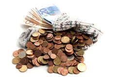Euro money in an old stockings Royalty Free Stock Image