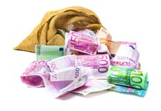 Euro money out of the bag. Money out of the bag, many euro notes royalty free stock images