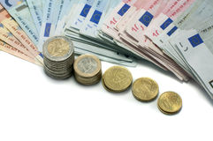 Euro money paper and coins Stock Photography