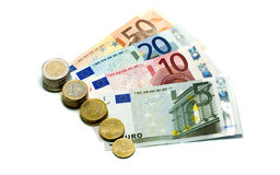 Euro money paper and coins Stock Image