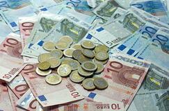 Euro money paper and coins Royalty Free Stock Photos