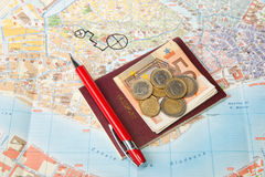 Euro money passport Map and red pen Royalty Free Stock Photography