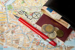Euro money passport Map and red pen Royalty Free Stock Images
