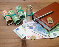 Euro Money, pen and notebook Stock Image