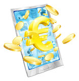 Euro money phone concept. Illustration of mobile cell phone with gold Euro sign and coins Royalty Free Stock Image