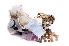 Euro money in piggy bank Stock Photo