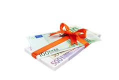 The euro money pile binded bow Royalty Free Stock Images