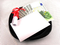 Euro money on plate, knife, diamonds and gift bow on white paper Royalty Free Stock Images