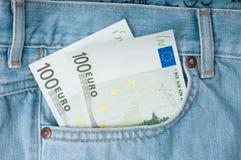 Euro money in pocket Stock Photo