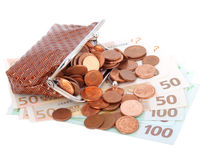 Euro money  in purse Royalty Free Stock Photography