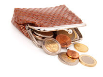 Euro money in purse Stock Photography