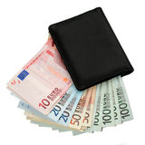 Euro money and purse stock photography