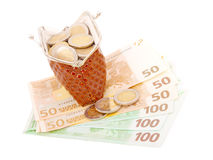 Euro money in purse Royalty Free Stock Photo