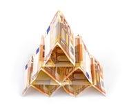 Euro money pyramid. Isolated on white stock photography