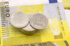 Euro money raise concept, arrow chart pointing up against background of Euro bills . stock photography