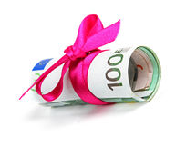 Euro money roll gift with pink ribbon Royalty Free Stock Image