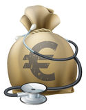 Euro Money Sack and Stethoscope. Money sack with a stethoscope wrapped around. Concept for any medical or finance theme like health insurance, financial health Stock Image