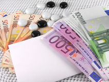 Euro money set, white empty paper and stones Stock Images