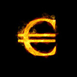 Euro Money Sign in Flames. Euro money sign in realistic golden flames Royalty Free Stock Photos