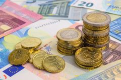 Euro Money Stacks and Bills. Banknotes Stock Images